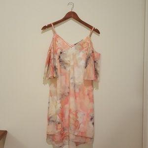 White house black market floral chiffon dress